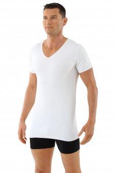 Maglietta intima senza cuciture a taglio vivo scollo a v maniche corte cotone elasticizzato color bianco