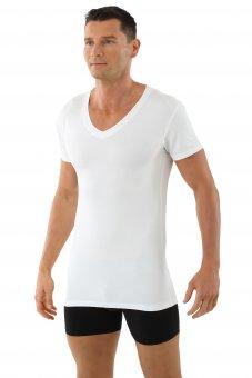 "Maglietta intima da uomo, scollatura a V piatta, mezza manica ""Stuttgart"" bianca"