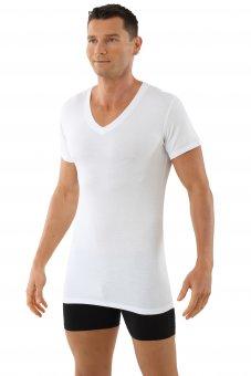 """Maglietta intima da uomo, scollo a V con mezza manica  """"Stuttgart light"""" bianca"""