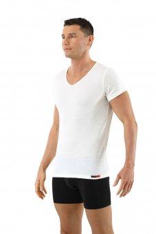 Maglietta intima lana merino maniche corte scollo a v in bianco lana