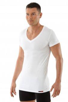 "Maglietta intima da uomo, scollatura a V piatta, mezza manica ""Stuttgart"" bianca L"