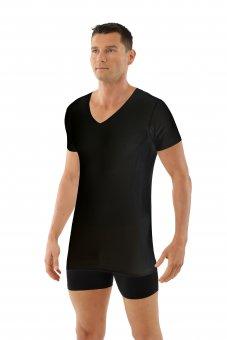 Maglietta intima senza cuciture a taglio vivo scollo a v maniche corte cotone elasticizzato color nero