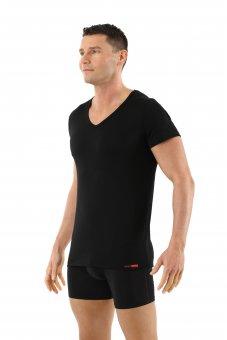 Maglietta intima nera lana merino maniche corte scollo a v