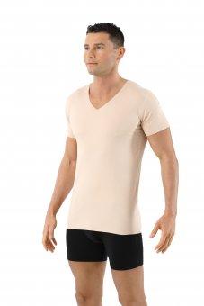 Maglietta intima invisibile senza cuciture a taglio vivo scollo a v maniche corte cotone elasticizzato color carne