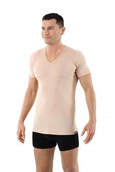 Maglietta intima invisibile scollo a v maniche corte 100% cotone biologico