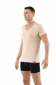 Maglietta intima invisibile lana merino maniche corte scollo a v