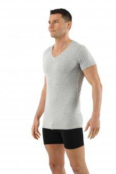Maglietta intima da uomo maniche corte scollo a v in cotone biologico elasticizzato grigrio