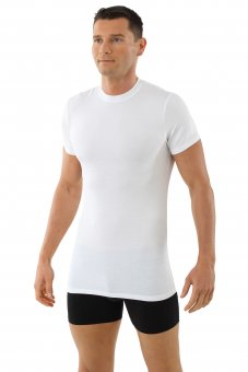 """Maglietta intima / T-Shirt in microfibra  """"Stuttgart"""" bianca con scollatura rotonda piatta M"""