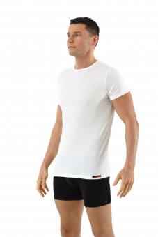 Maglietta intima lana merino maniche corte scollo rotondo in bianco lana