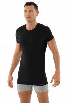 Maglietta intima scollo rotondo con maniche corte cotone elasticizzato nero