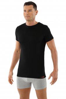 Maglietta intima nera lana merino maniche corte scollo rotondo