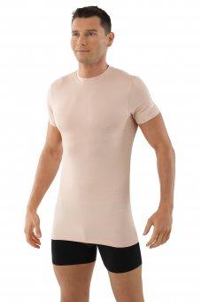 """Maglietta intima da uomo, scollo rotondo con mezza manica  """"Stuttgart light"""" invisibile - color carne"""