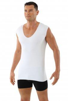 Canottiera intima senza cuciture a taglio vivo scollo a v extra profondo - senza maniche cotone elasticizzato color bianco