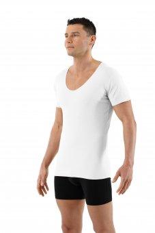 Maglietta intima senza cuciture a taglio vivo scollo a v extra profondo - maniche corte cotone elasticizzato color bianco