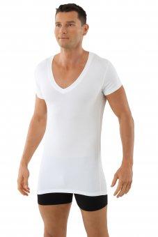 """Maglietta intima da uomo, scollo a V extra profondo """"deep-v""""  con mezza manica """"Stuttgart light"""" bianca M"""