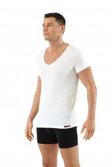 Maglietta intima lana merino maniche corte scollo a v profondo in bianco lana