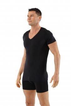 Maglietta intima nera lana merino maniche corte scollo a v profondo
