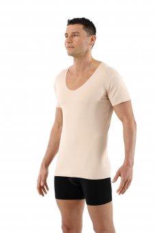 Maglietta intima invisibile senza cuciture a taglio vivo scollo a v extra profondo - maniche corte cotone elasticizzato color carne