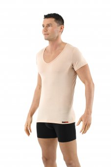 Maglietta intima invisibile lana merino maniche corte scollo a v profondo