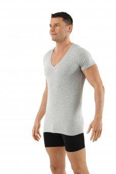 Maglietta intima da uomo maniche corte scollo a v profondo in cotone biologico elasticizzato grigrio