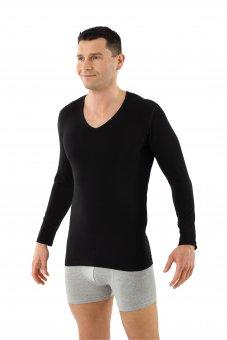 Maglietta intima a maniche lunghe cotone bio elasticizzato - scollo a v nero