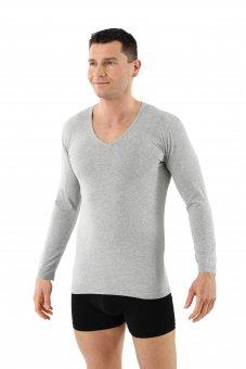 Maglietta intima a maniche lunghe cotone bio elasticizzato - scollo a v grigio