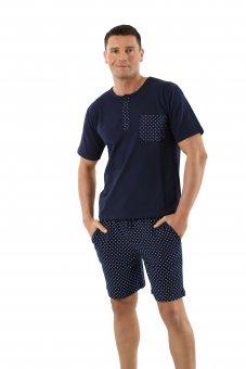 Pigiama da uomo maniche corte e pantalonicini cotone elasticizzato, blu marino con motivi