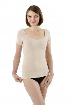 Maglietta intima invisibile in cotone elasticizzato maniche corte scollatura rotonda molto larga e profonda per spalle larghe - color carne