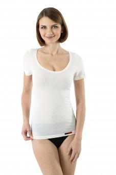 Maglietta intima lana merino maniche corte scollatura larga e profonda in bianco lana