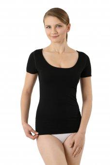Maglietta intima senza cuciture a taglio vivo scollo largo rotondo maniche corte cotone elasticizzato color nero XS
