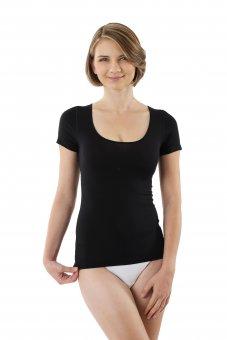 Maglietta intima nera da donna maniche corte micromodal