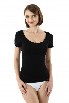 Maglietta intima nera lana merino maniche corte scollatura larga e profonda