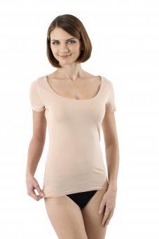 Maglietta intima invisibile senza cuciture a taglio vivo scollo largo rotondo maniche corte cotone elasticizzato color carne