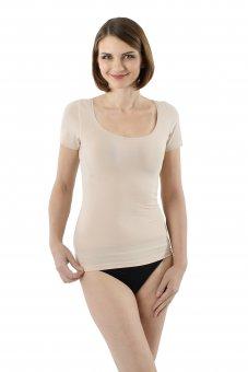 Maglietta intima invisibile in cotone elasticizzato maniche corte scollatura larga e profonda color carne