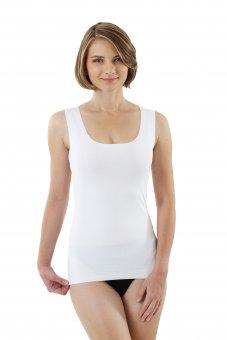 Canottiera senza cuciture a taglio vivo scollo largo rotondo cotone elasticizzato color bianco S