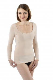 Maglietta intima invisibile in cotone elasticizzato maniche lunghe scollatura larga e profonda color carne
