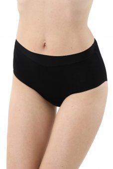 Set di 3 Culotte slip vita alta comodo cotone elasticizzato nero