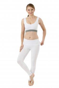 Leggings yoga calzamaglia termica cotone organico elasticizzato bianco