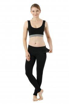 Leggings yoga calzamaglia termica cotone organico elasticizzato nero