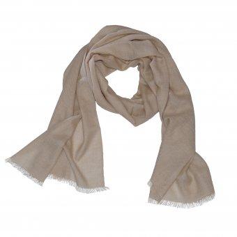 Sciarpa lana cashmere biologico da donna e uomo color beige00 x 65 cm