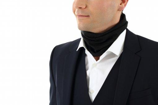 Scaldacollo lana merino con seta grigrio antracite