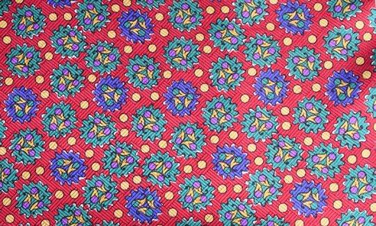scialle pura seta rosso, giallo, verde, azzurro - fantasia, disegno 200047