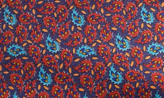 cravatta rosso, azzurro, arancione - paisley, disegno 200050