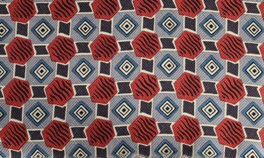 cravatta sciarpa terracotta, azzurro, bianco - fantasia, disegno 200054