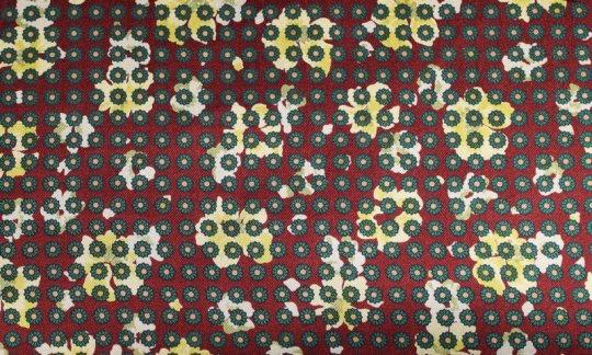 scialle pura seta giallo, verde, rosso vino - fiori, disegno 200056