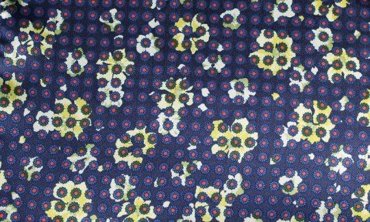 scialle pura seta rosso, giallo, blu marino - fiori, disegno 200058