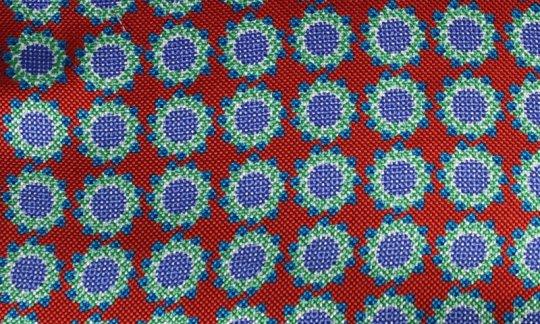 cravatta rosso, azzurro - fiori, disegno 200059
