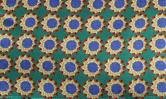cravatta rosso, giallo, verde, oro, azzurro - fiori, disegno 200060