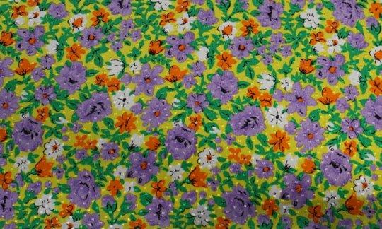 scialle pura seta giallo, verde, bianco, arancione, ametista, grigio - fiori, disegno 200063