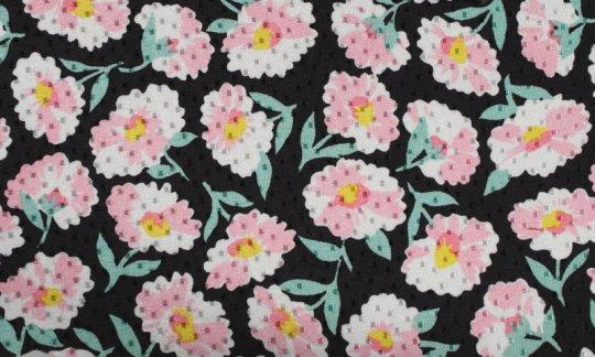 fazzoletto da taschino giallo, verde, nero, bianco, rosa - fiori, disegno 200064